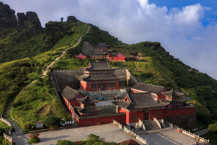 Templos budistas en Fanjingshan en China