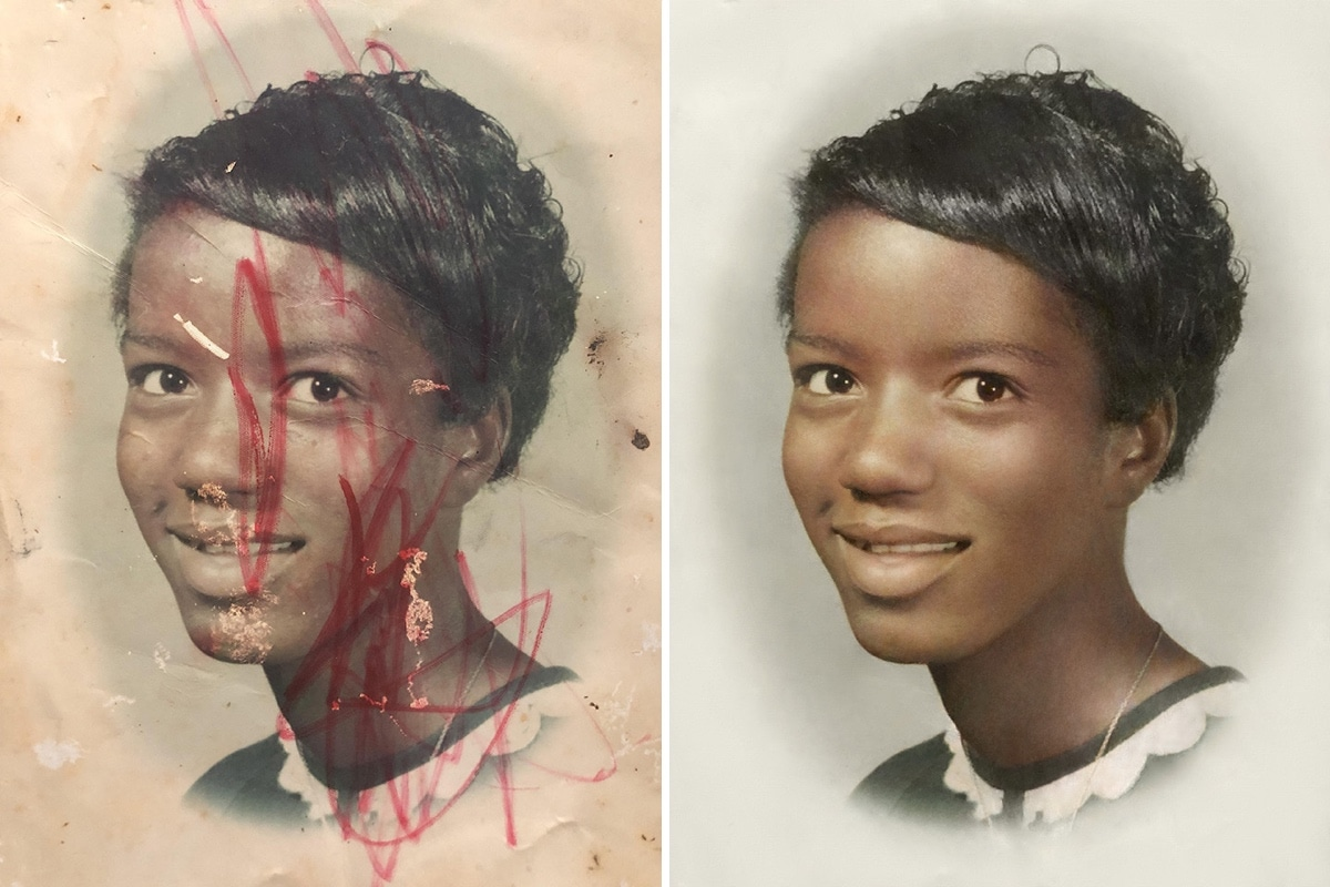 Foto restaurada de mujer afroamericana