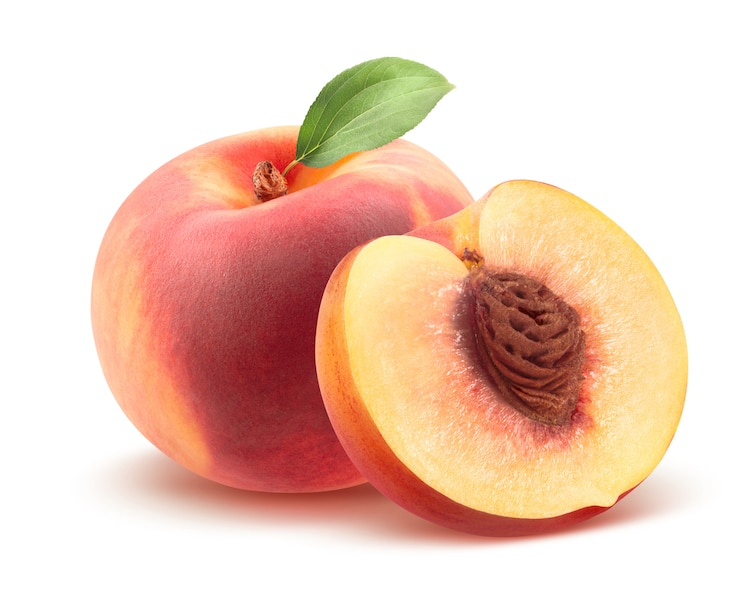 Peach Cut in Half with Pit