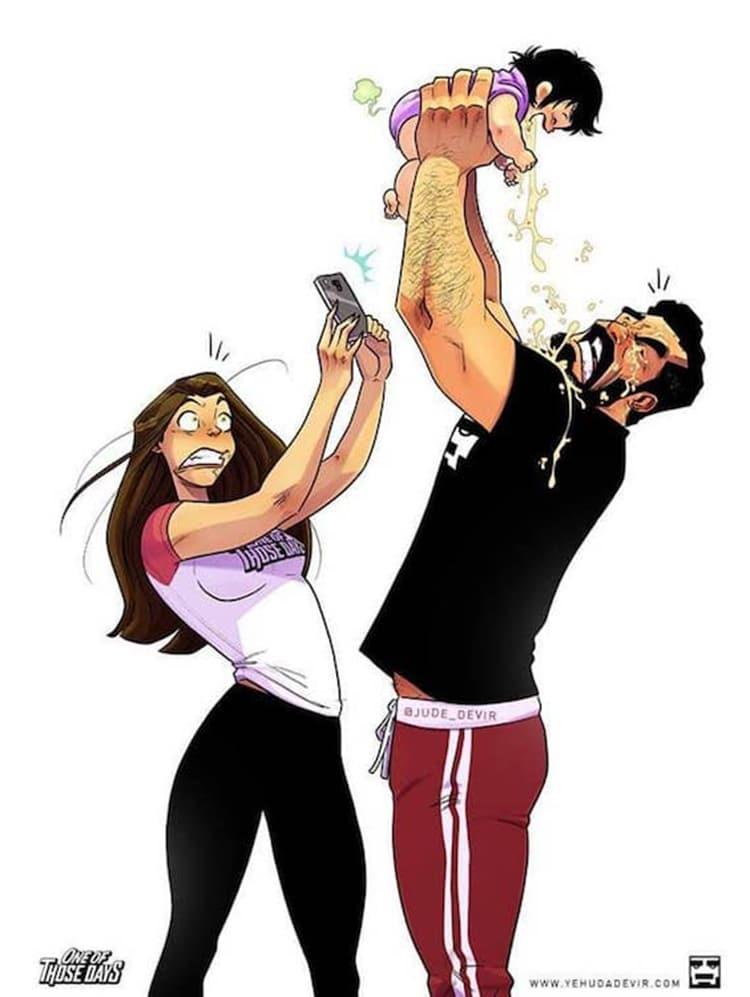 Cómics de vida en pareja con recién nacido por Yehuda Devir
