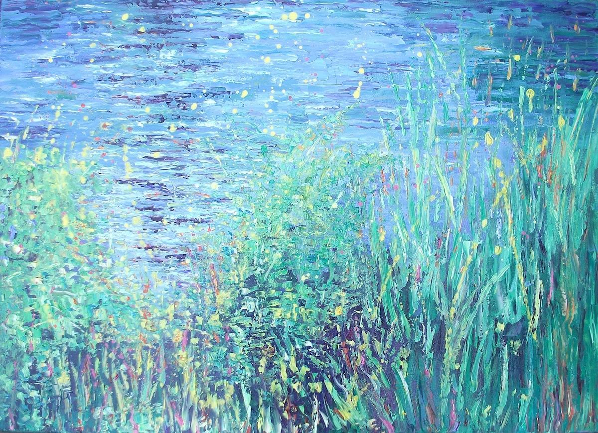 Fiori alti e colorati nei dipinti tattili di Therese O'Keeffe
