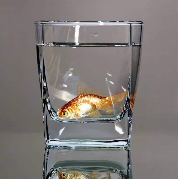 Photorealistic Painting of a Goldfish by Young-sung Kim