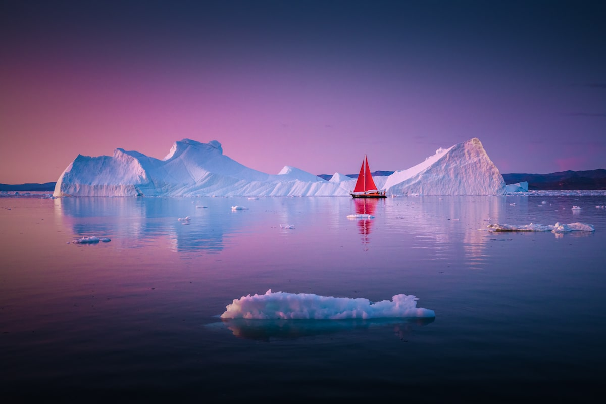 Iceberg in Greenland at Sunset