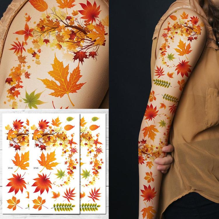 Autumn Leaf Temporary Tattoos