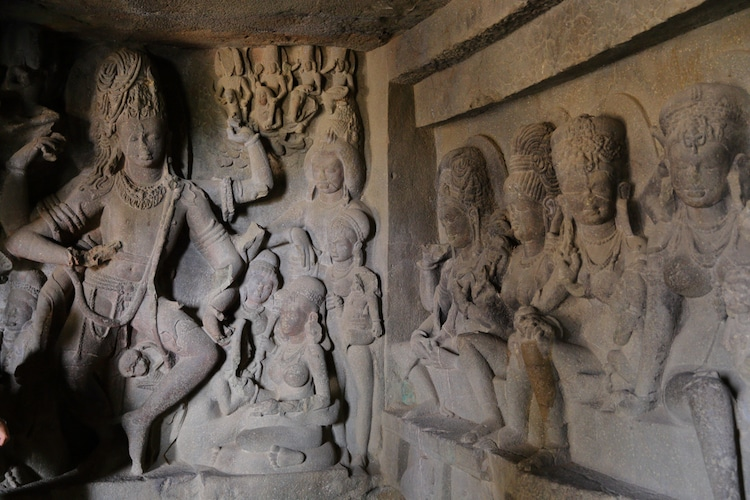 Carvings in Kailasa Temple at the Ellora Caves in India
