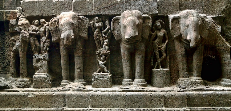 Elephant Carvings at Kailasa Temple