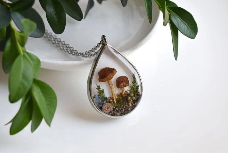 Real Mushroom Necklace