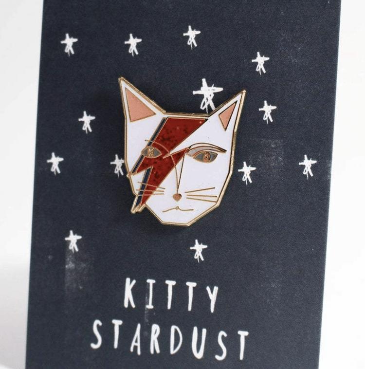 David Bowie Cat Pin