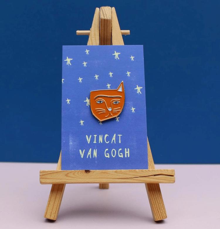 Van Gogh Cat Pin