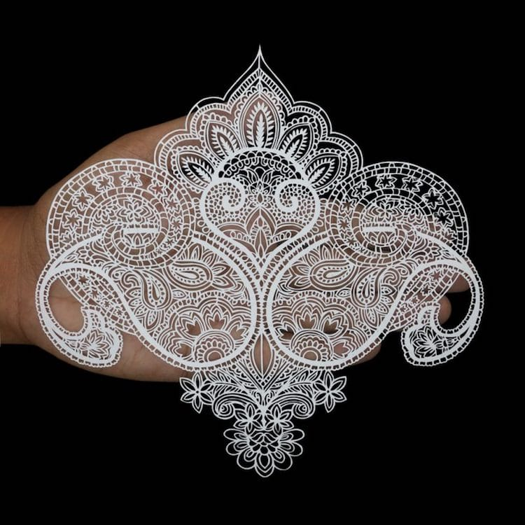 Paper Cutting Art Paisley Designs by Parth Kothekar