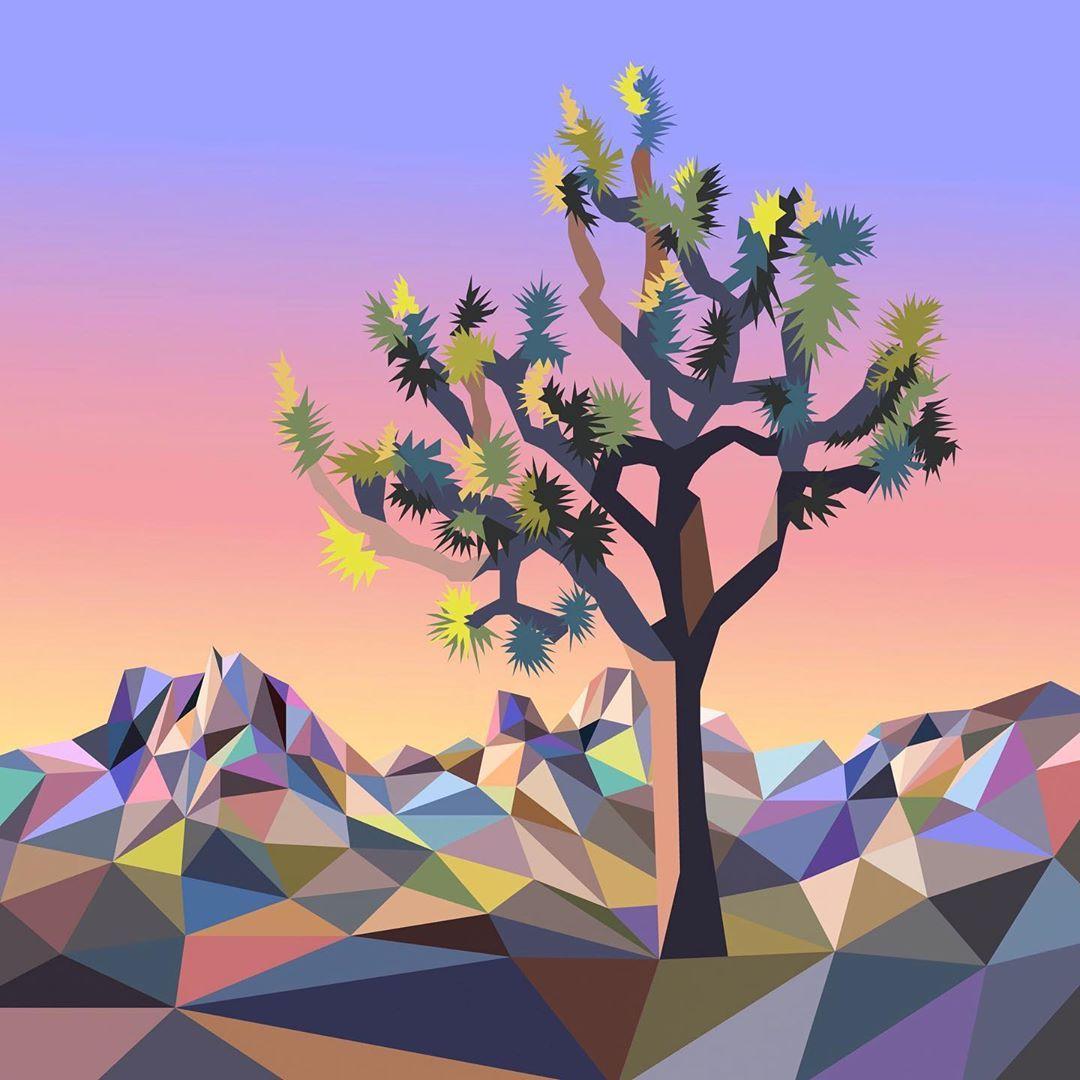 Pintura de paisaje poligonal por Elyse Dodge
