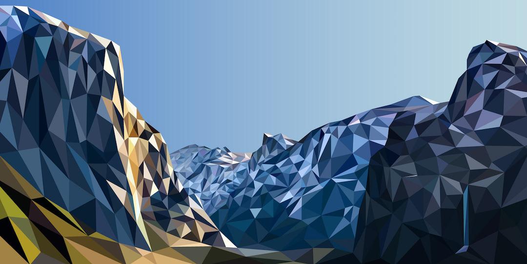 Pintura geométrica de paisaje por Elyse Dodge