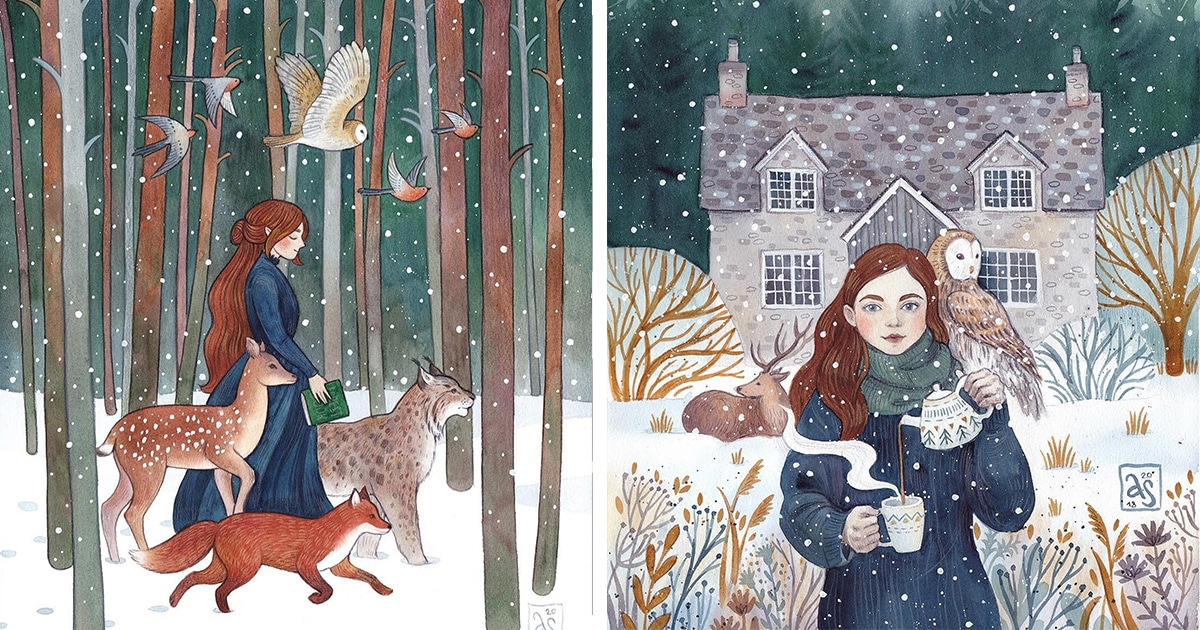 Charming Watercolor Illustrations Capture Adventures of Women and Their Animal Companions