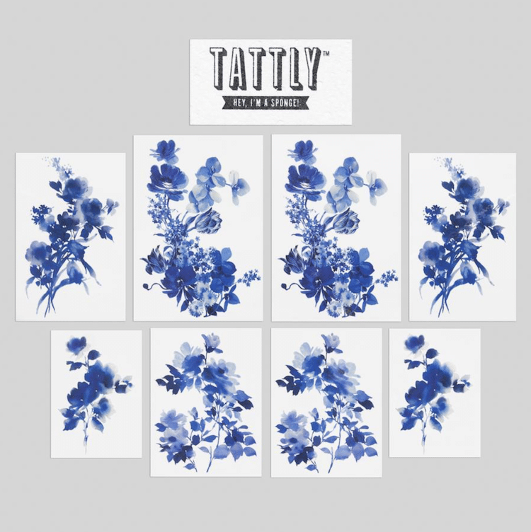 Blue Floral Tattoo Set