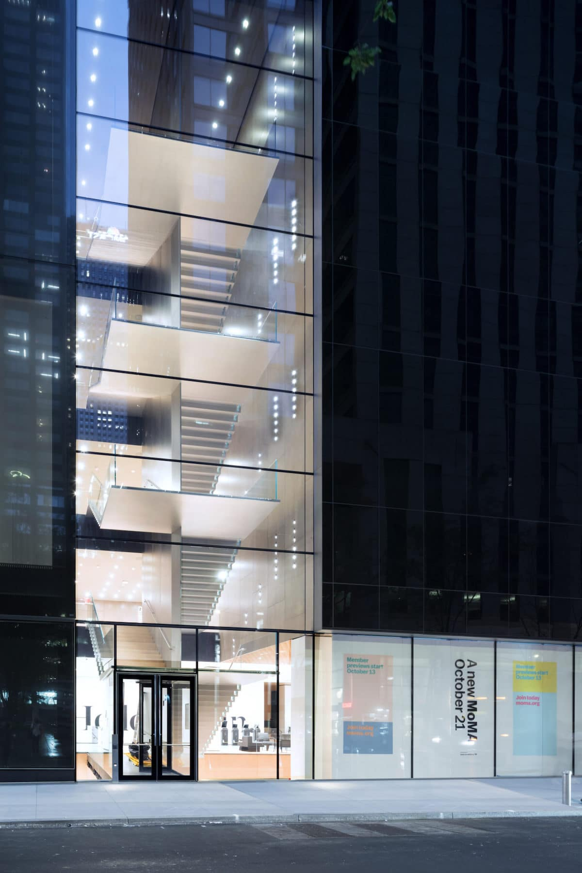 Exterior view of The Museum of Modern Art, Blade Stair Atrium, 53rd Street.