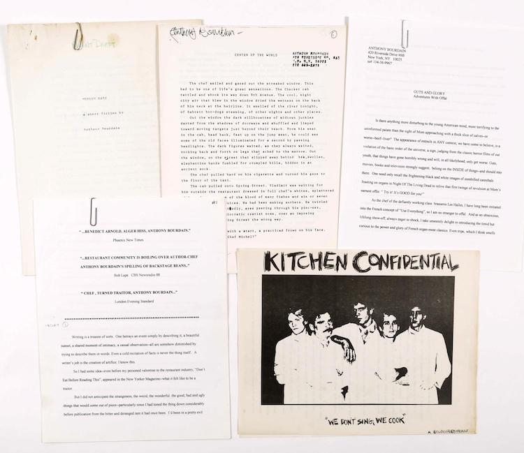 Group of Early Writings by Anthony Bourdain, including original Kitchen Confidential Idea