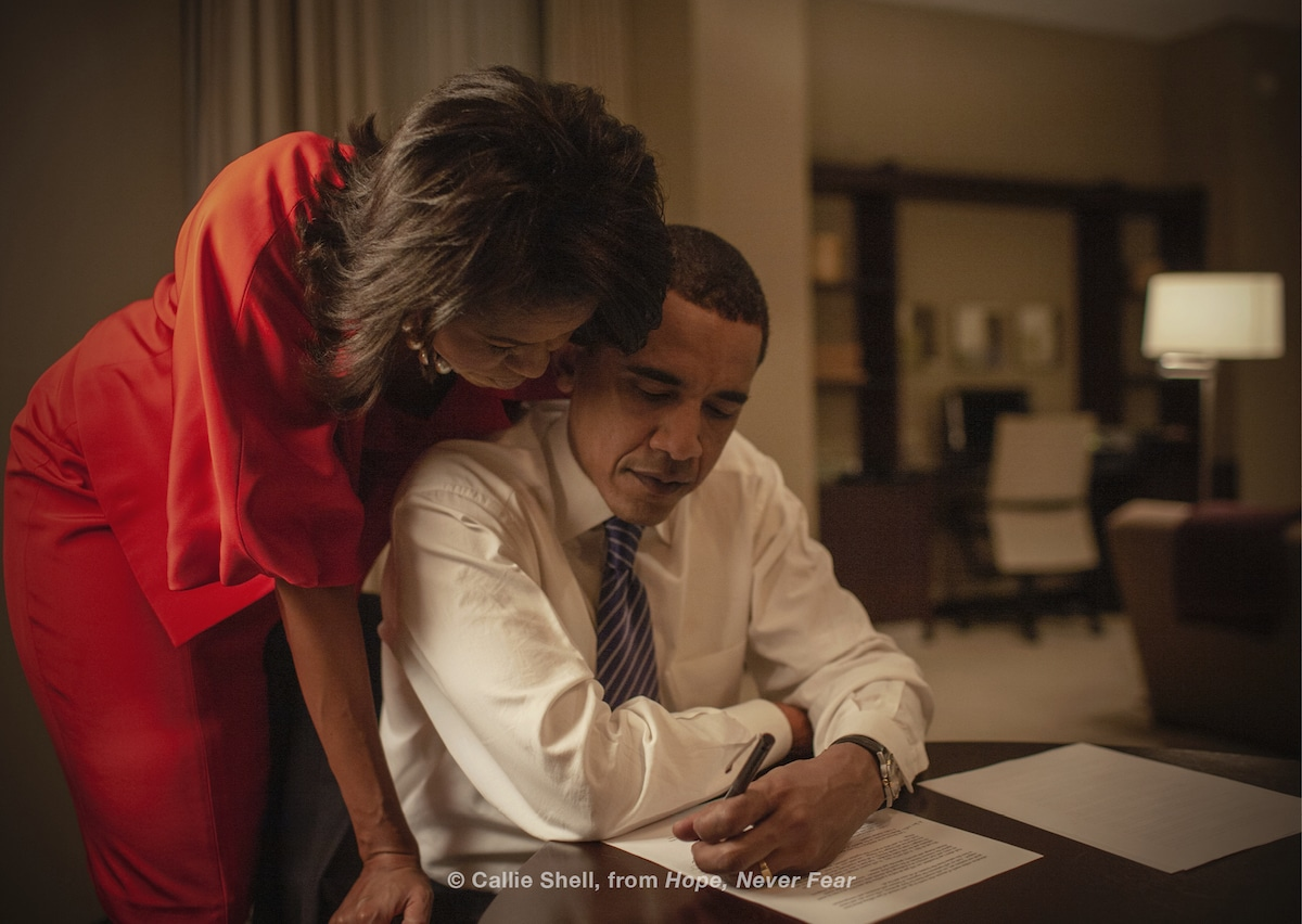 Candid Photo of Barack and Michelle Obama by Callie Shell