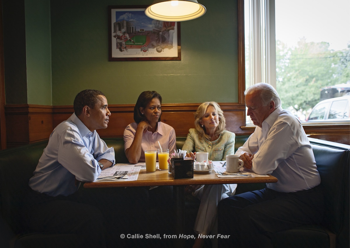 Candid Photo of the Obamas and Bidens