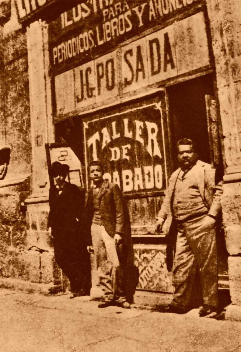 José Guadalupe Posada frente a su imprenta