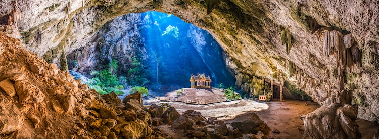 Pavilion Sitting in a Cave in Thailand