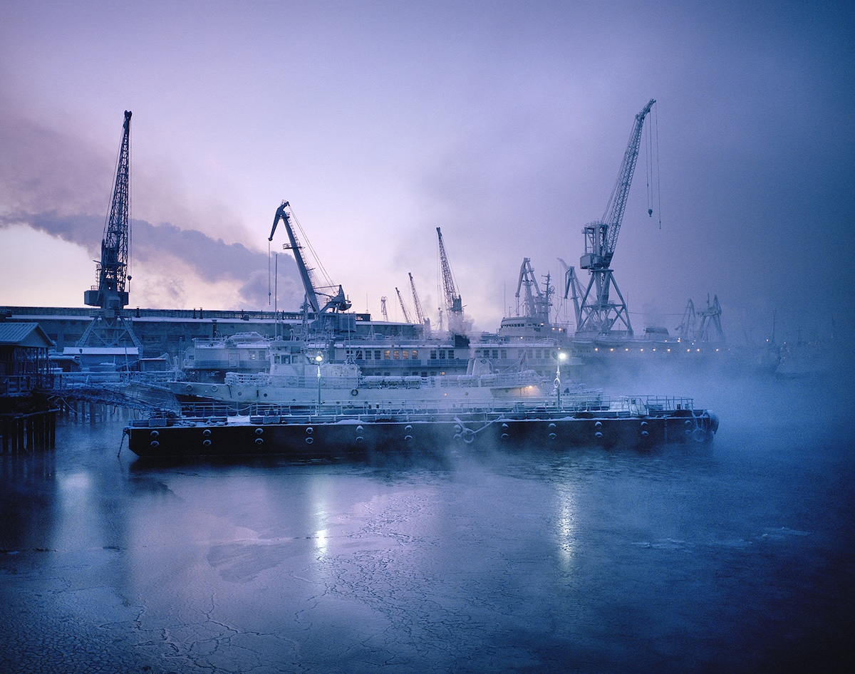 Boats at a dock in Murmansk, Russia