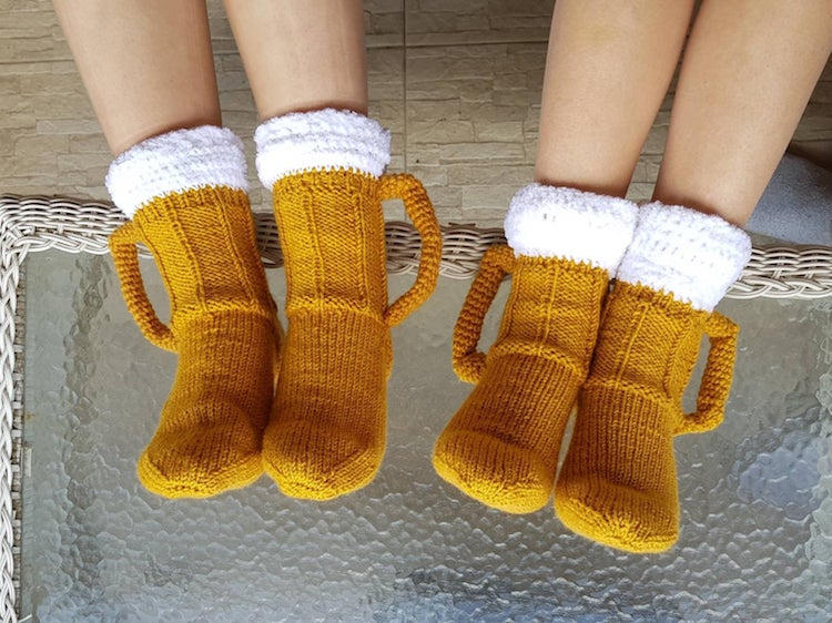 Knitted Beer Socks by Vicky Djokic