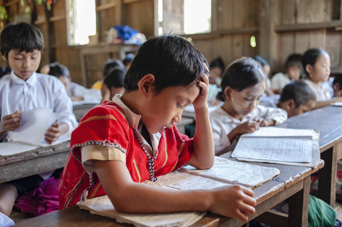 Boy Studying in the Classroom in Myanmar