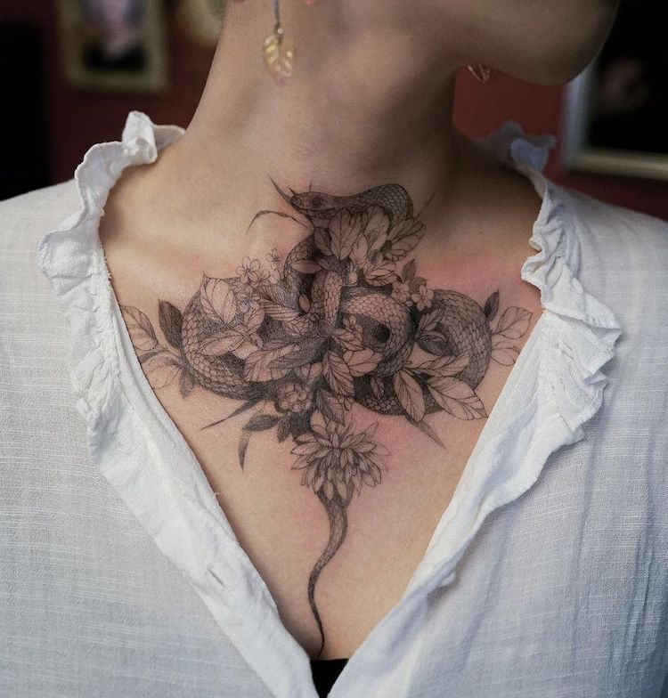 Delicate Nature Inspired Tattoos by Zihwa