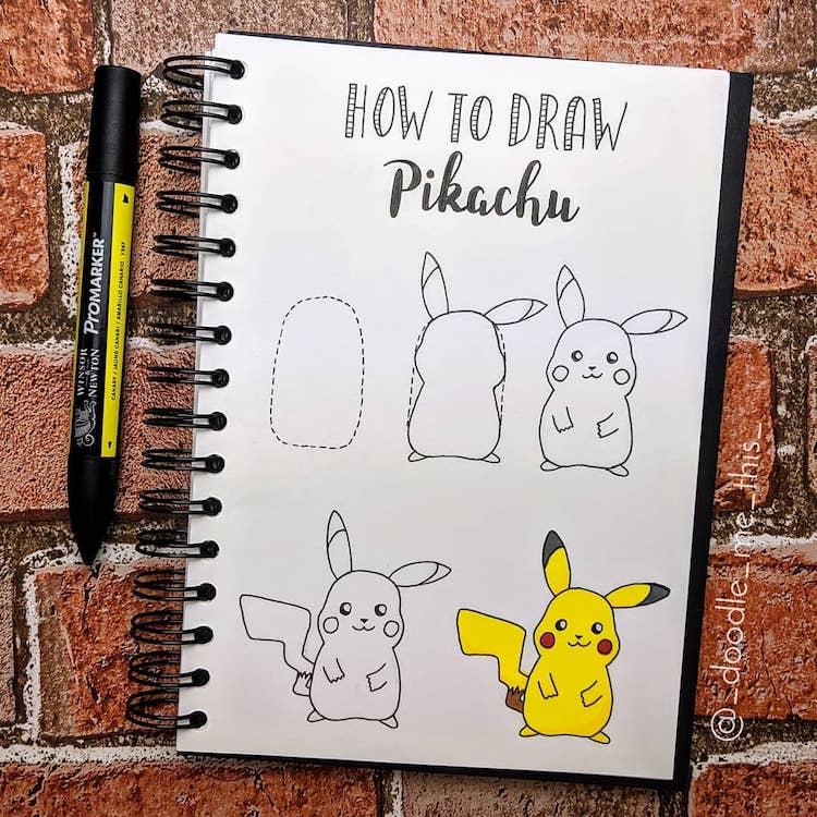 Como dibujar pikachu