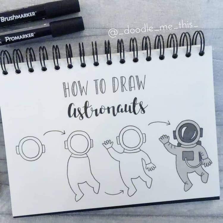 como dibujar un astronauta