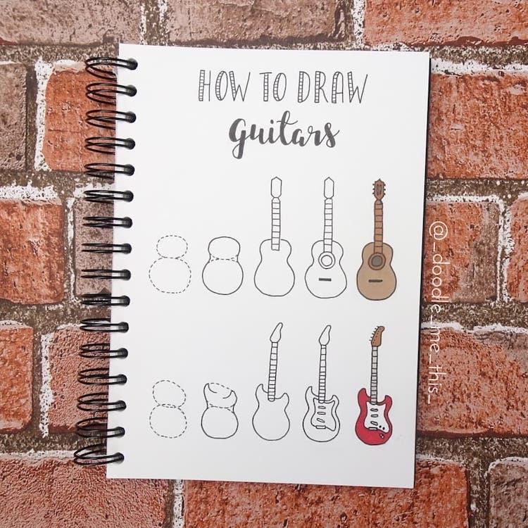 como dibujar una guitarra