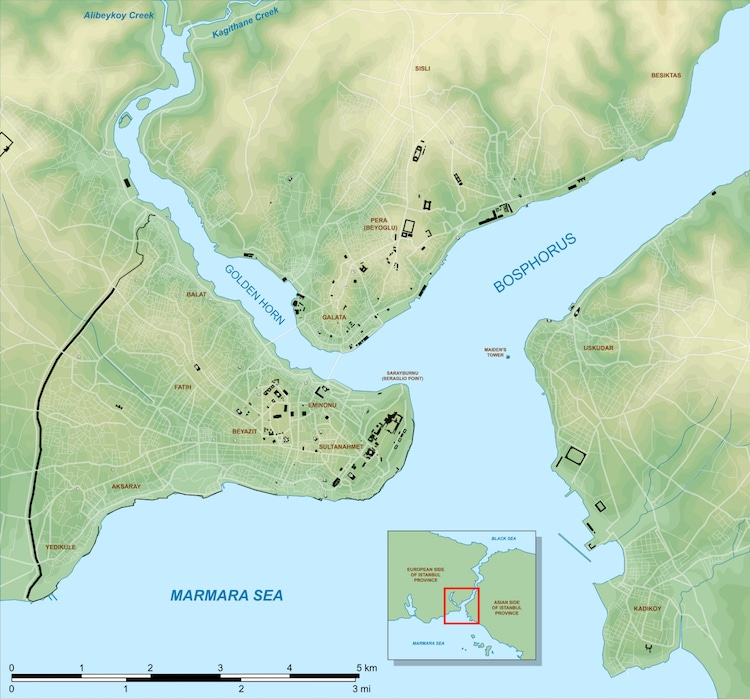 Map Showing Istanbul and Golden Horn
