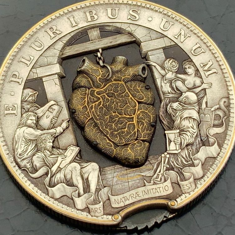 Beating Heart Coin Hobo Nickel by Roman Booten
