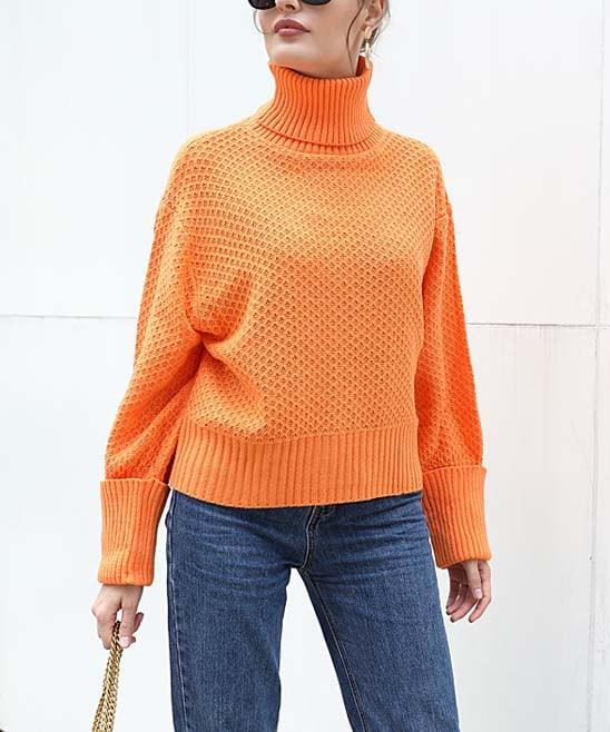 Orange Turtleneck Sweater for Women