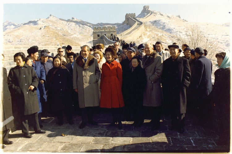 President Richard Nixon Visiting the Great Wall of China