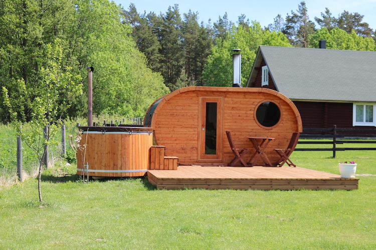 Outdoor Finnish Sauna and Jacuzzi