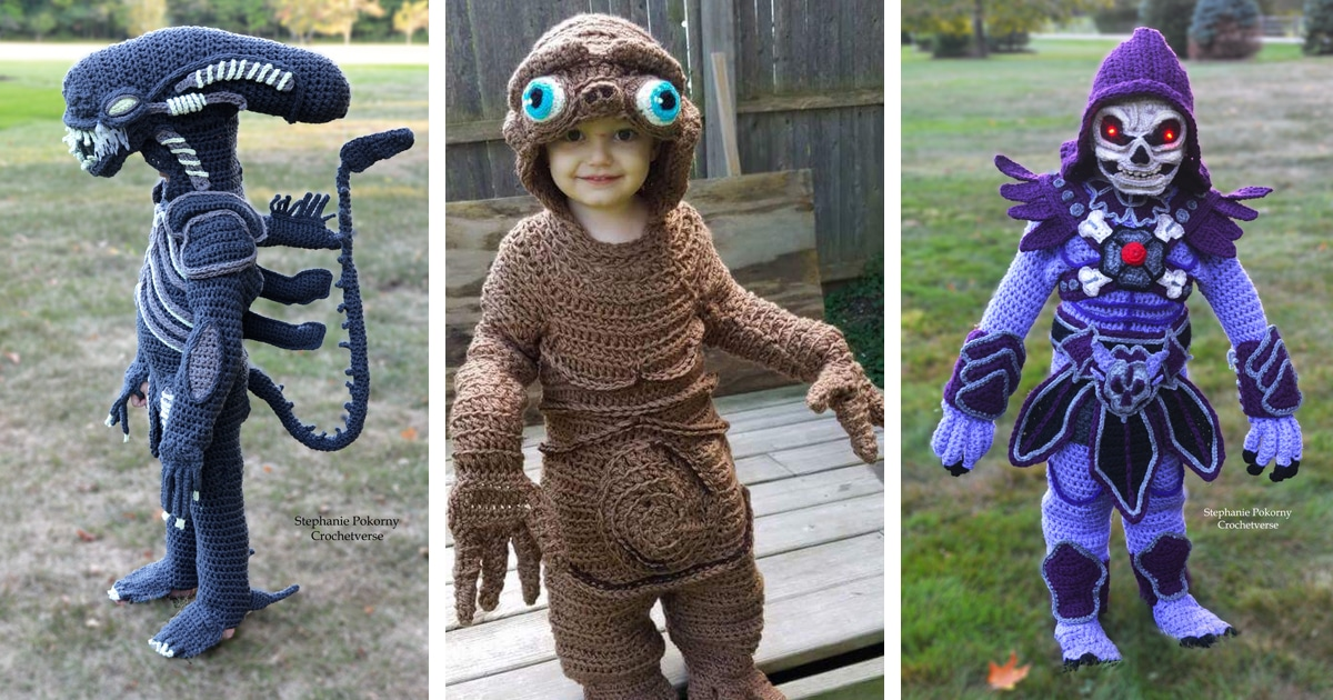 Woman Crafts Amazing Crochet Halloween Costumes For Her Four Kids