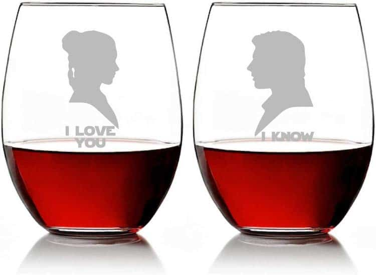 I Love You & I Know You Star Wars Wine Glasses