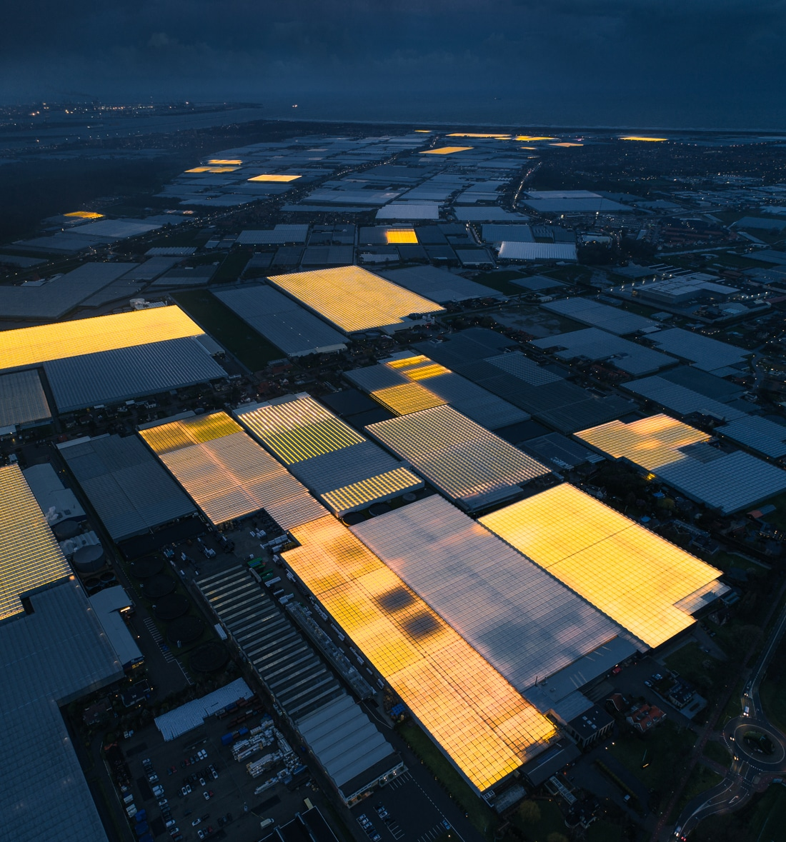 Aerial Photography of LED Greenhouse