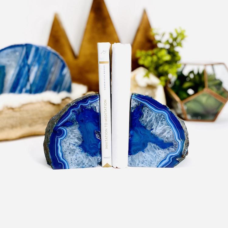 Sujetalibros de ágata azul