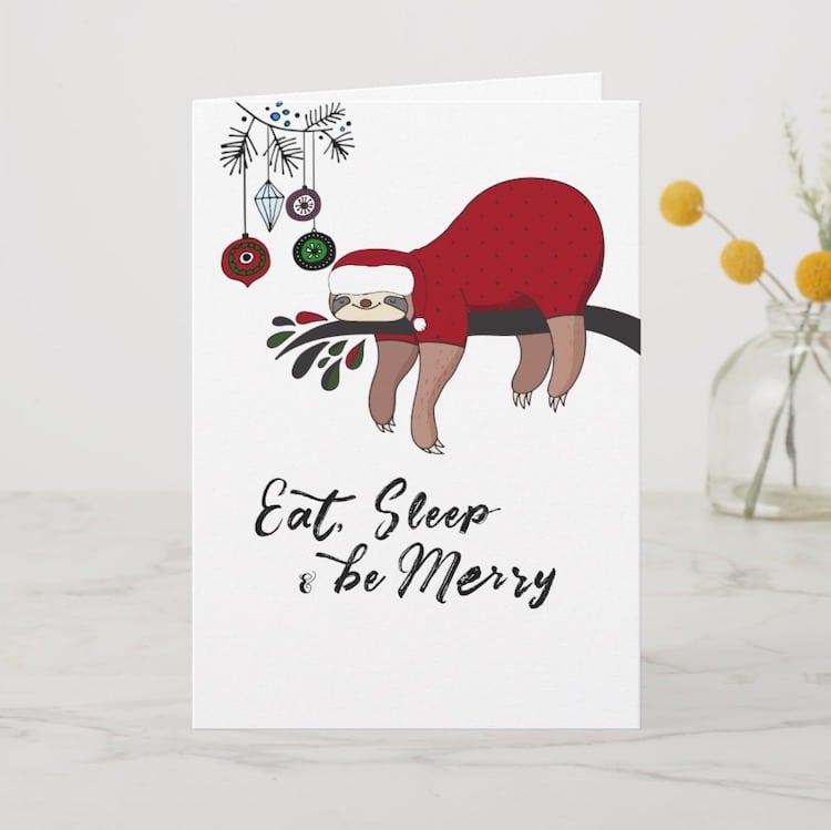 Sloth Holiday Card