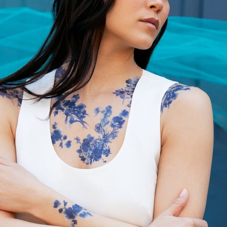 Blue Floral Temporary Tattoos