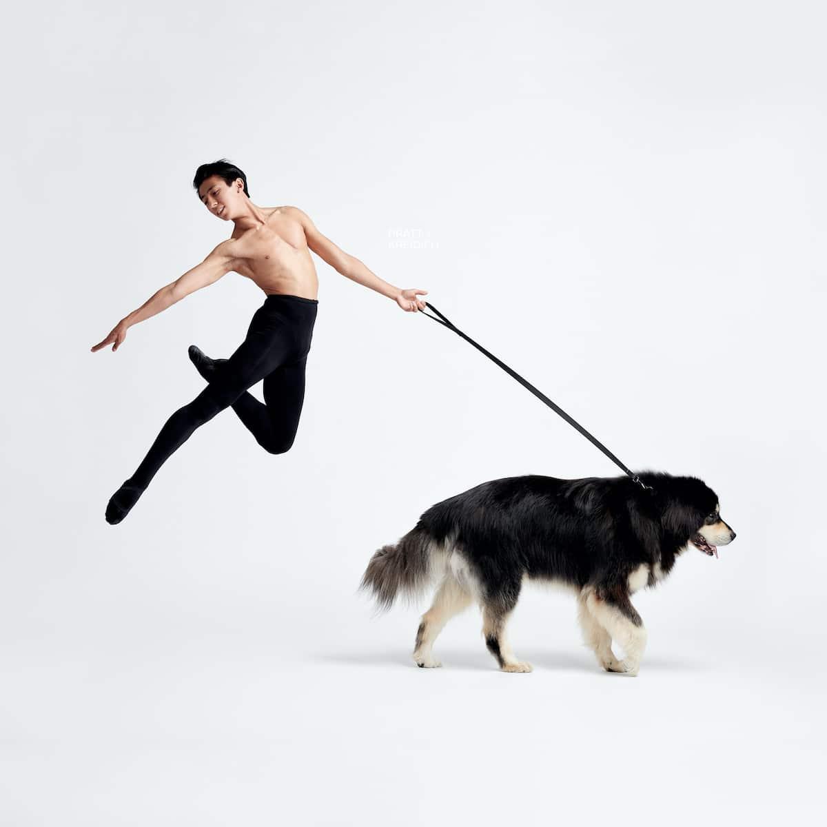 Bailarín de ballet y perro