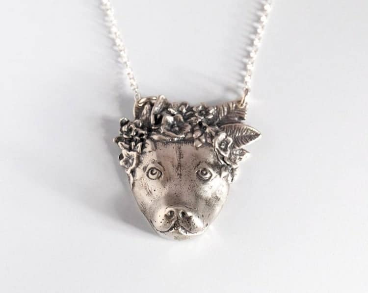 Pit Bull Flower Necklace