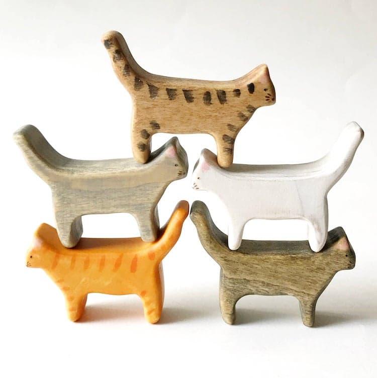 Wooden Cat Figurines