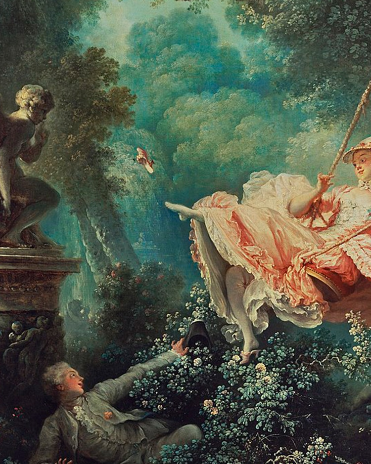 In fragonards the swing what is the symbolism behind the swing itself