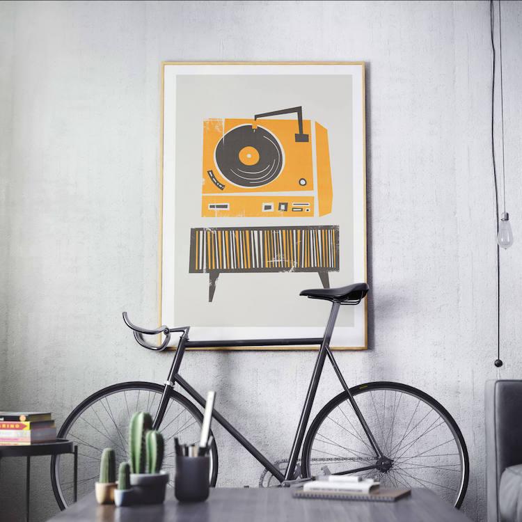 Record Player Retro Wall Print