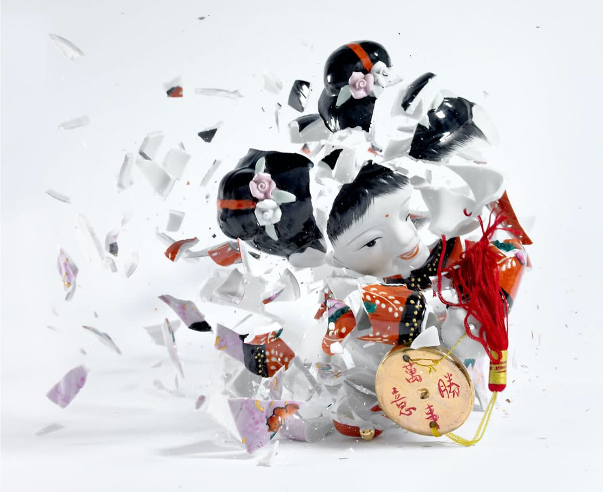 High Speed Photography of Shattered Porcelain Figurines