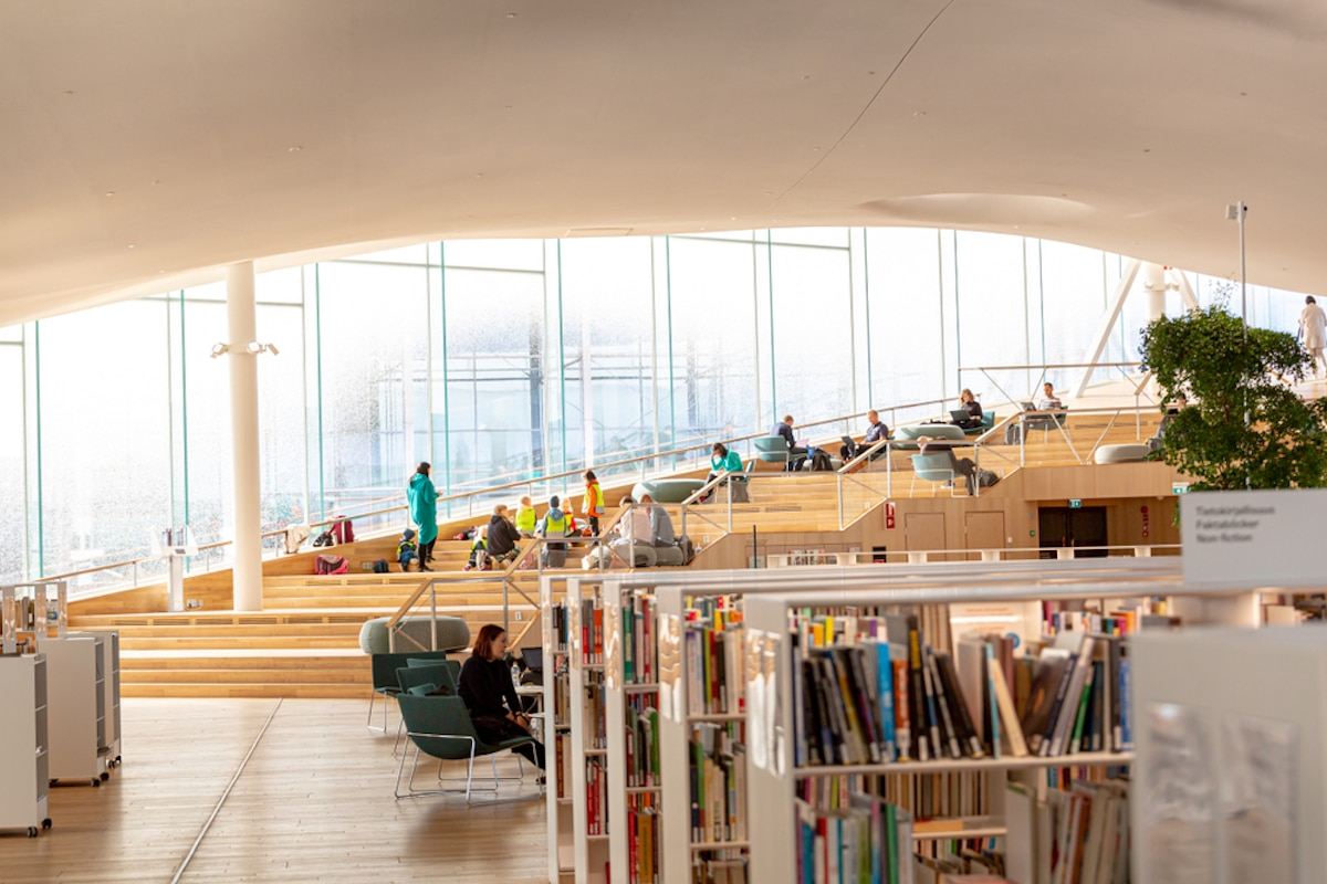 Interior of Finland's Oodi Library