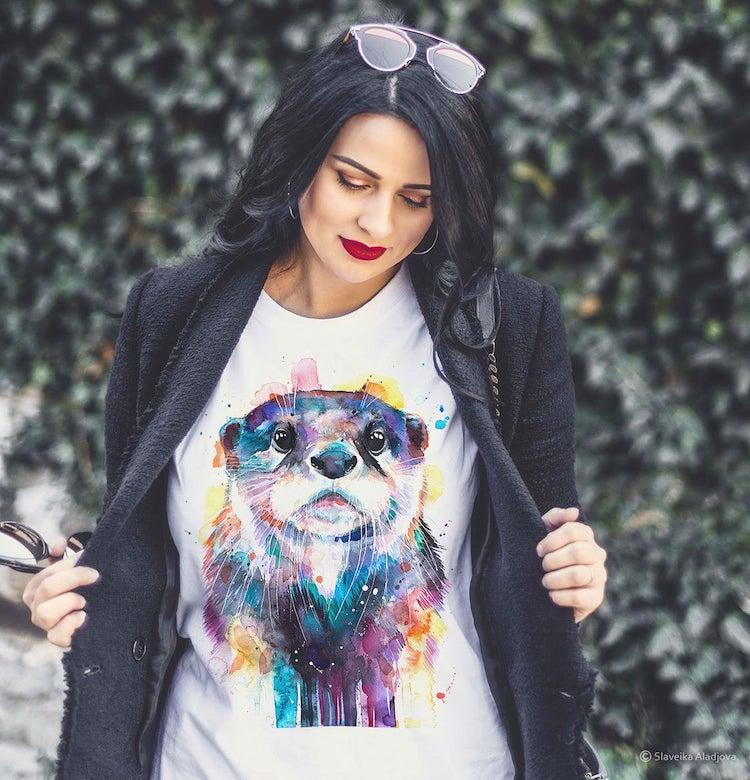Watercolor Otter Unisex T Shirt